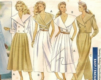 "A Double-Breasted Crop Jacket, Top, Flared Skirt, and Pants Pattern for Women: Uncut - Sizes 6 & 8, Bust 30-1/2"" - 31-1/2"" • Butterick 4092"
