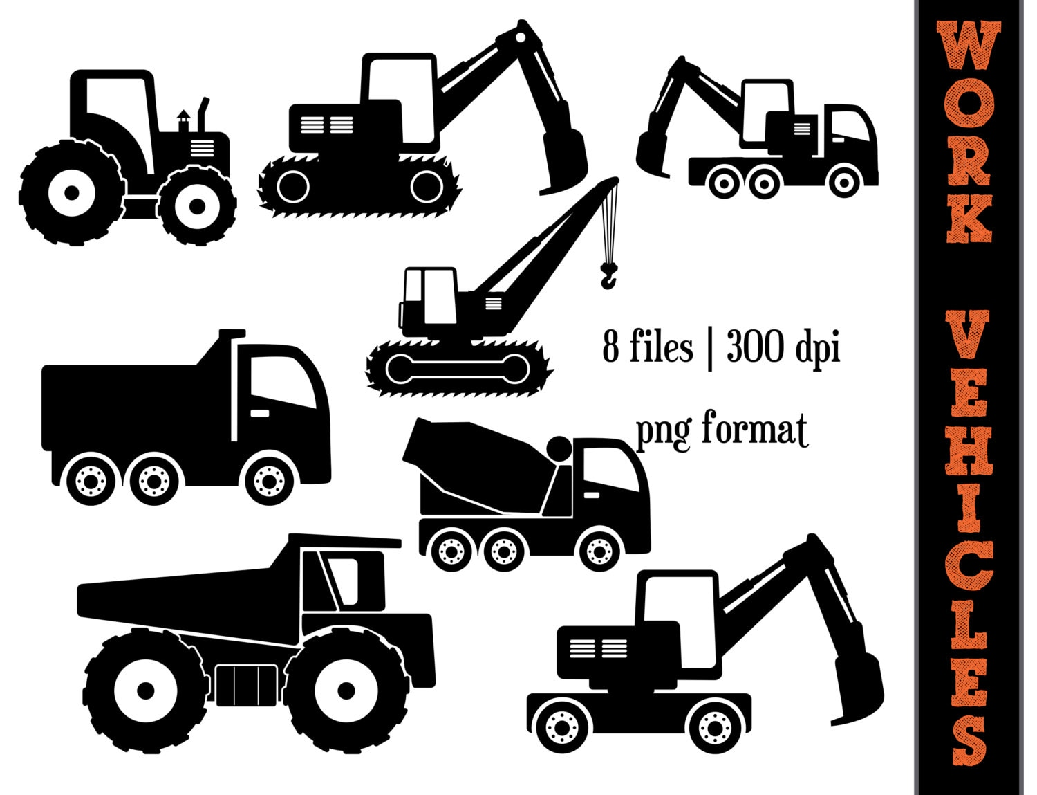 Work Vehicles Silhouettes // Dump Truck Silhouette // Backhoe