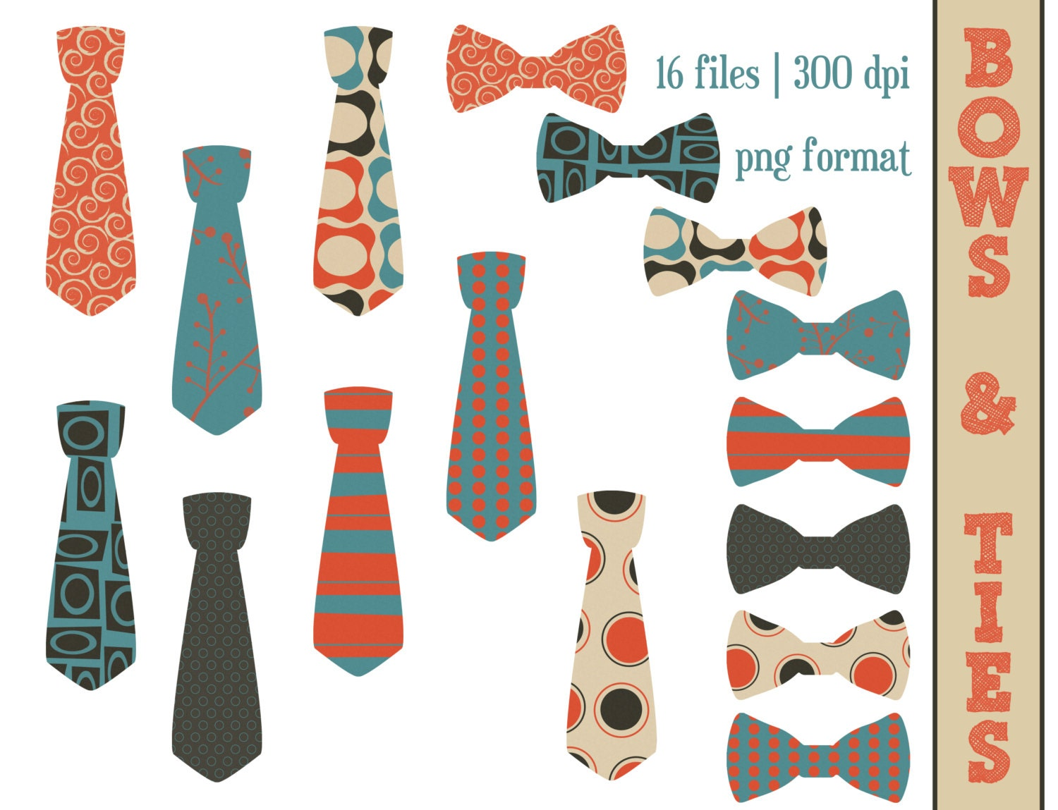 Tie and Bow Ties // Clip Art // Illustration // Boys Clipart