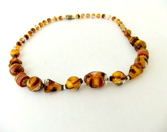 Glass Bead Choker Necklace Amber Color Vintage Czech Glass