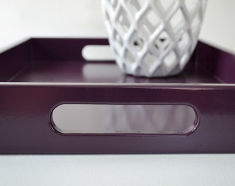 Plum 12 x 12 Lacquered Serving Tray - Wood Table Top Tray - Decorative Coffee Table Tray