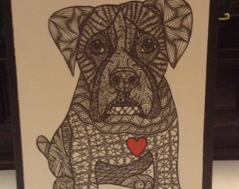 Zentangle Inspired Boxer dog  Note Card, Boxer dog Print, Love Card