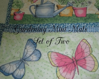 MINI MATS Set of Two  Gardening and Butterflies Home Country Cabin Cottage Décor Hostess Gift