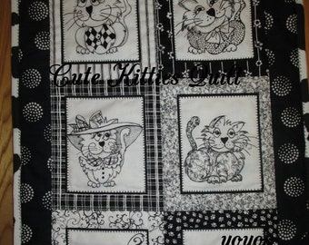 CUTE KITTIES, QUILT,  Black and White,  Mini Quilt,  Home Décor,  Wall Hanging, Hostess Gift, Gift for Cat Lovers