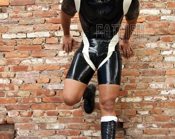 Best Man Gift / Bike Style Lance  /  Sexy Cool&Tight Man Latex Clothing,Latex Catsuit