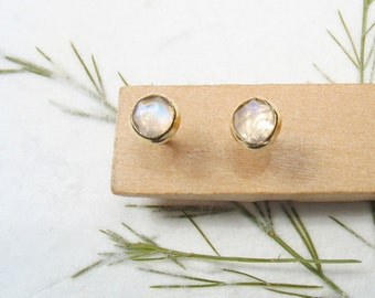4 mm rose cut Moonstone , solid 9k yellow gold studs earrings, Mother day earrings
