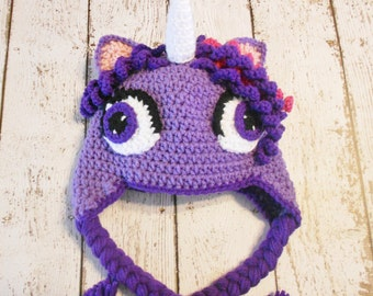 Crochet Purple Unicorn Hat-12 months to adult-Photo prop