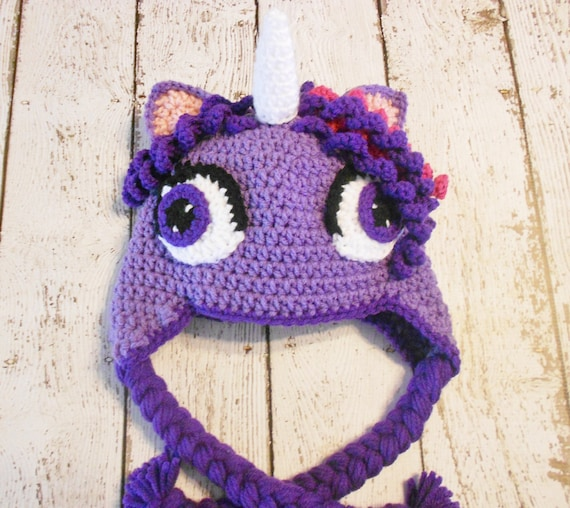 Crochet Purple Unicorn Hat-12 months to by SweetpeasAlley on Etsy