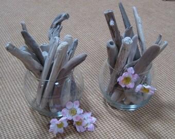 Set of 2 Driftwood Bouquets--Beach Decor-Drift Wood--DIY Beach Wedding Decor--Coastal Craft Supplies Lot M45