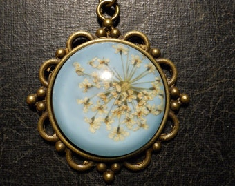 Baby Blue and White Queen Annes Lace Preserved Specimen Floral Necklace