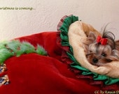 Christmas Cuddle Sack Red Tissavel Fur and Soft Golden Minky Fur Dog Bed small