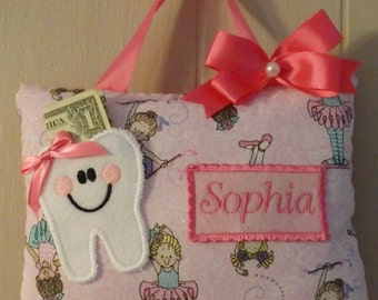 Personalized Tooth Fairy pillow--BALLERINA Tooth Fairy pillow
