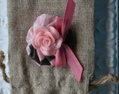 Baby Girl/ Toddler girl hair clip/ barrette/ hair bow/ alligator clip- Pink and grey cabochon flower