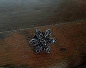 Small Black Flower Brooch