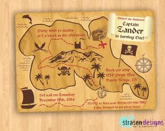 Pirate Map Birthday Invitation DIY Printable