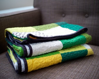 Handmade Green Quilt - Modern Patchwork Quilt with Green and Yellow Solids