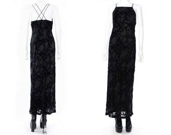 Vtg 90s Black Burnout Velvet Vamp Goth Mermaid Maxi Dress S M