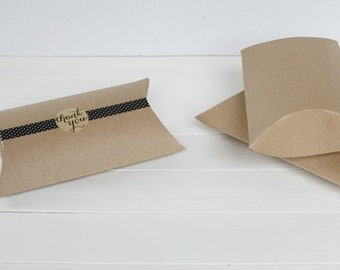 25 7 x 5.5 x 2 Kraft Pillow Boxes, Wedding Favors, Jewlry Packaging,Wedding Favor boxes, Packaging