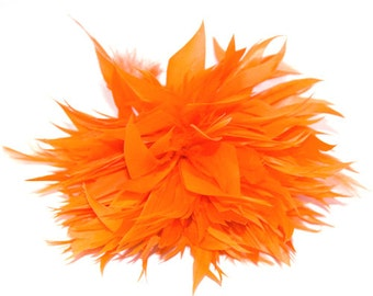 Orange Fascinator feather brooch fascinator clip or pin