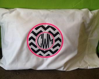 Chevron Monogrammed Pillowcase
