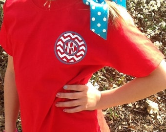 Monogram youth chevron short sleeve shirt