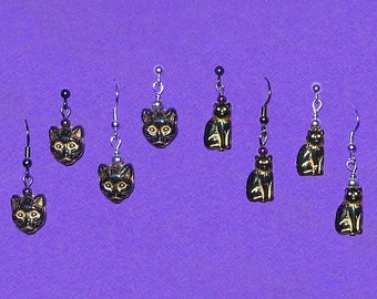 Czech Glass Gold Etched Lucky Black Cat Face Bead Earrings Silver Plated NEW