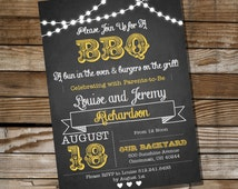 Chalkboard BBQ Baby Shower for a Boy or Girl - Invitation - Instantly Downloadable and Editable File - Personalize at home with Adobe Reader