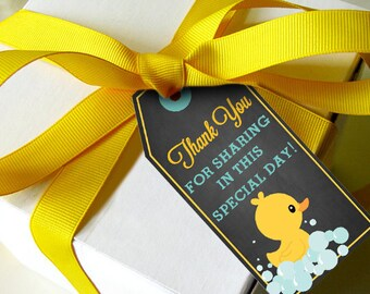 Chalkboard Rubber Duck Favor Tags - Baby Shower Favors - Instantly Downloadable File - Print at Home