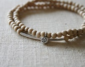 Birch stacking lotus bracelet // Karen Hill Tribe floral flower lotus silver // yoga mala // handmade