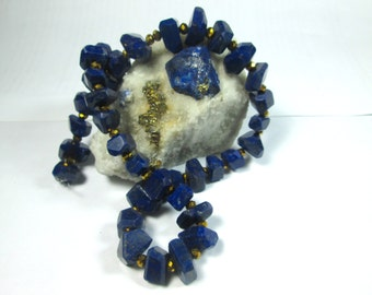 WOW AAA Grade 100% Natural Polished Faceted Lapis Lazuli Beads Strand Necklace Afghanistan 1