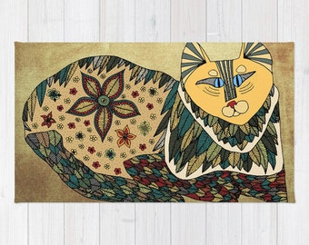 Cat Rug, Rustic Rug, Cat Bath Mat, Cool Bath Mat, Cat Throw Rug, Shabby Chic Throw Rug, Modern Floor Mat, Cat Carpet, Kids Room Decor