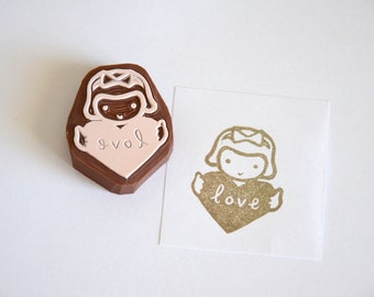 Hand Carved Rubber Stamp / Love