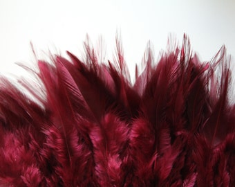Burgundy Hackle Hen Feather Fringe / 20 loose feathers