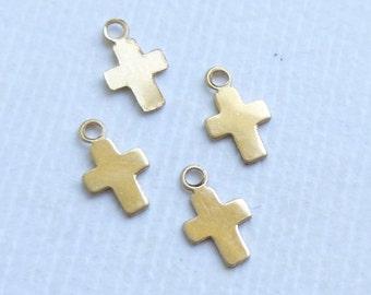 Mini Gold Filled Cross Charm -- 4 Pieces -- 14kt GF Tiny Cross Pendant