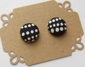 Fabric Button Earring Stud - Black and White Polka Dot -  Button Earrings - Hypoallergenic Earrings