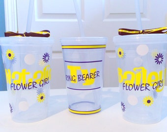 Personalized Wedding Flower Girl Tumbler Cup *Plastic*