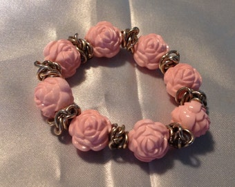 Vintage Lucite Carved Pink Rose Stretch Bracelet