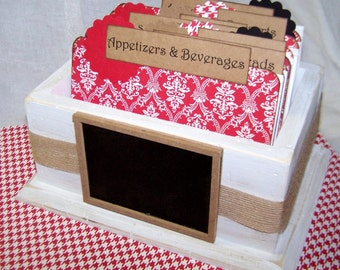 RECIPE BOX, Dividers, Recipe Cards, Red and White Damask, Houndstooth, Chalkboard, Recipe Dividers and Recipe Cards