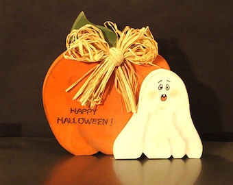 Halloween Pumpkin & Scary Ghost, Wood, Standing, Hand Painted (HL703)