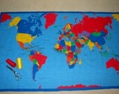 WORLD MAP - Cloth Panel with world map - Learn Geography the fun way - Teachers, parents, campers - Make wall hanging, table cloth or quilt