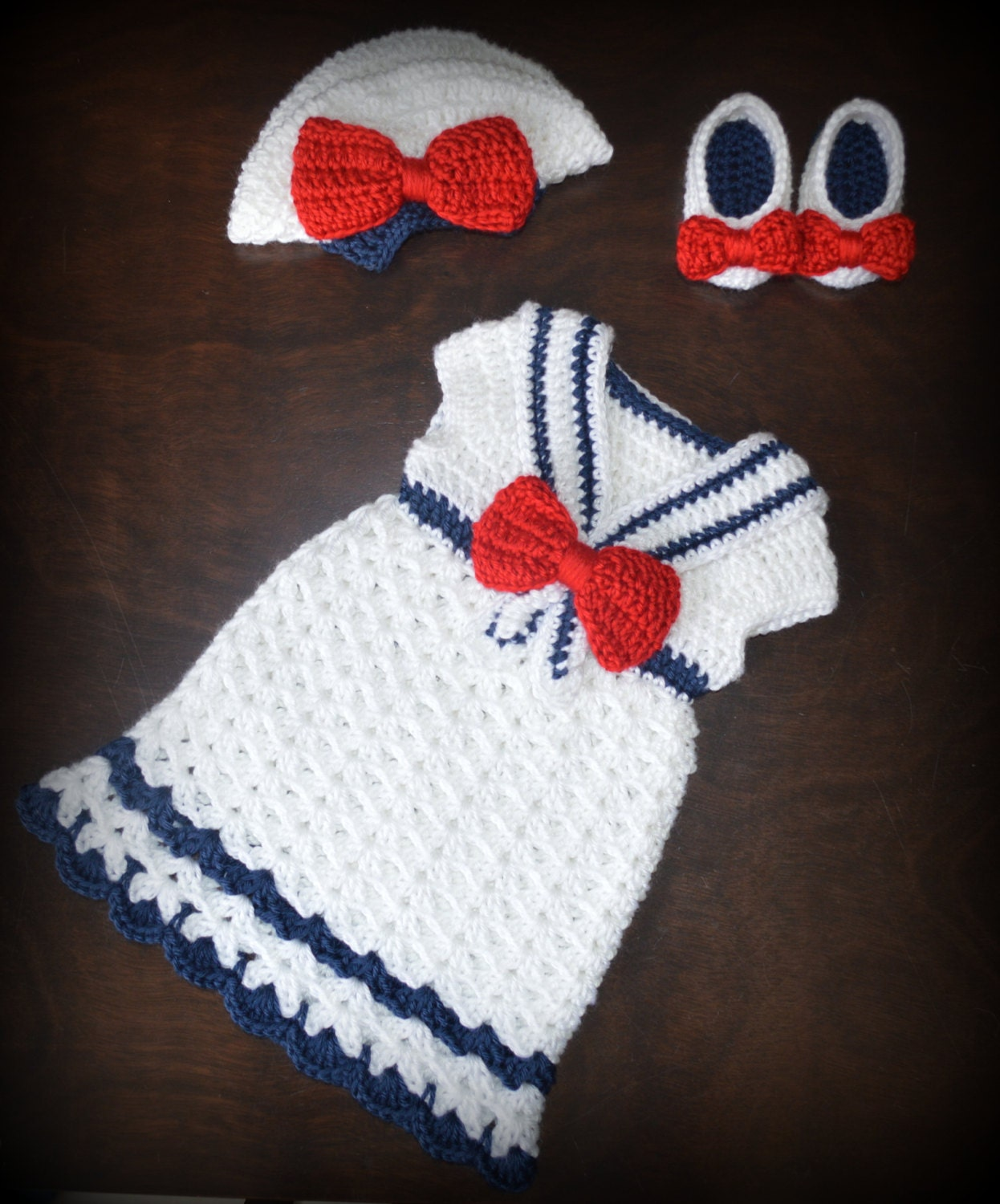 Free Crochet Pattern For Sailor Hat : Crochet Sailor Hat & Matching Dress with Shoes Nautical Photo