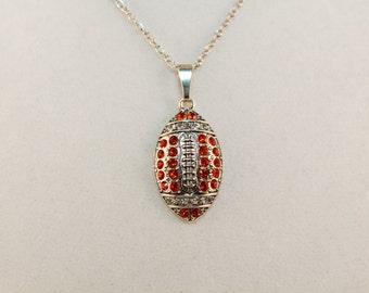 Silver plated rhinestone football pendant necklace