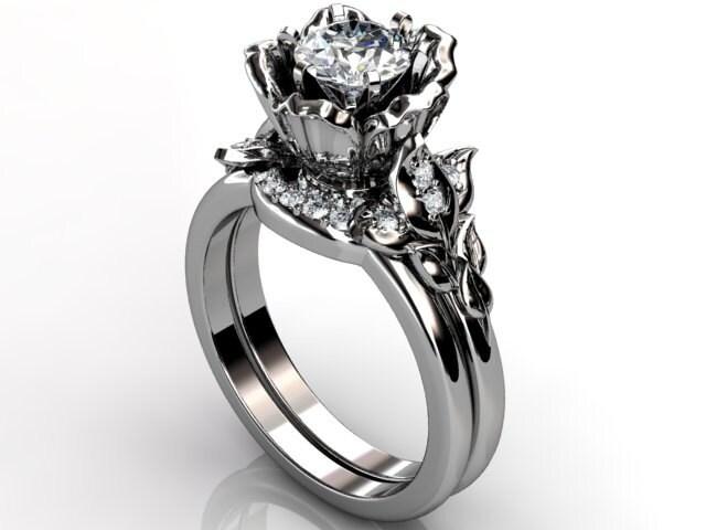 platinum unique flower engagement ring by