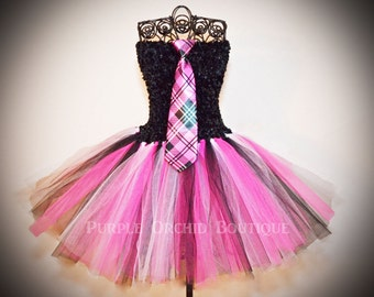 Monster High Inspired - Draculaura Pink Plaid Tutu Dress - CHILD SIZE