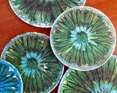 Vintage Lot of 1950's Psychadellic  Flower Power Trivets- Trays- Coasters