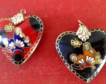 Set of Two 1970's Cloisone Heart Pendants Red and Black Butterflies