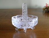 Vintage Hofbauer Bird Collection Small  24% Lead Crystal 4 Footed Basket With Crystal Handle