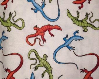 FLANNEL - Colorful Lizards - Lizard Fabric