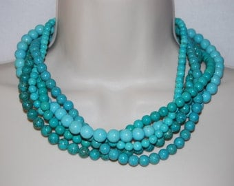 Turquoise Statement Necklace Chunky Bold