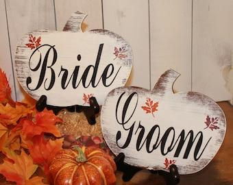 BRIDE GROOM Wedding Chair Signs/Pumpkin shape/Fall Autumn Leaves/Photo Prop/U Choose Colors/Great Shower Gift/Rustic/Vineyard/Woodland